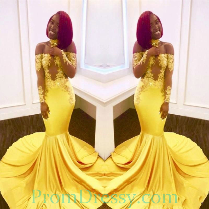 Off The Shoulder Long Sleeves Bright Yellow Mermaid Evening Dress