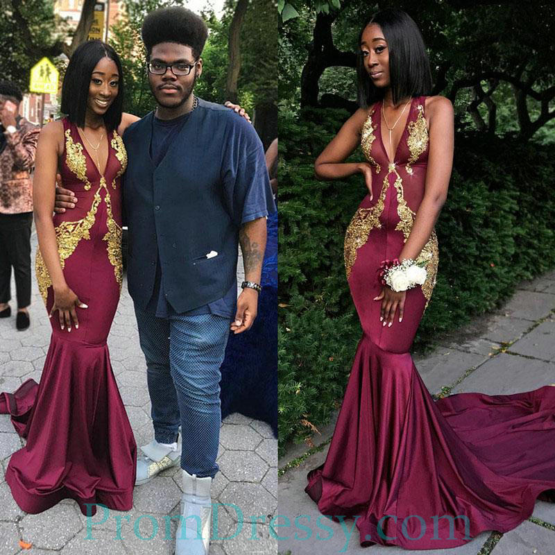 e9fedeb60ea0 Satin Plunging Deep V Burgundy Mermaid Prom Dresses With Gold Appliques