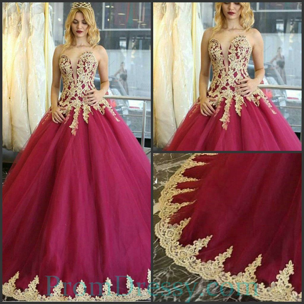 079e8e9b5f2 Gold Lace Applique Burgundy Prom Dress - Gomes Weine AG
