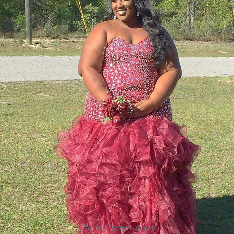 Sweetheart Handmade Beaded Water Melon Ruffled Evening Prom Dresses Plus  Size