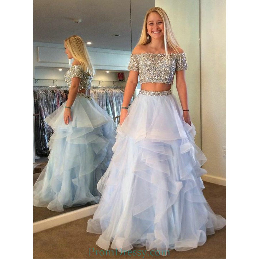 3ea85dde0994 Tiered Tulle A Line Two Piece Off Shoulder Blue Prom Dress With Sequins  Beading