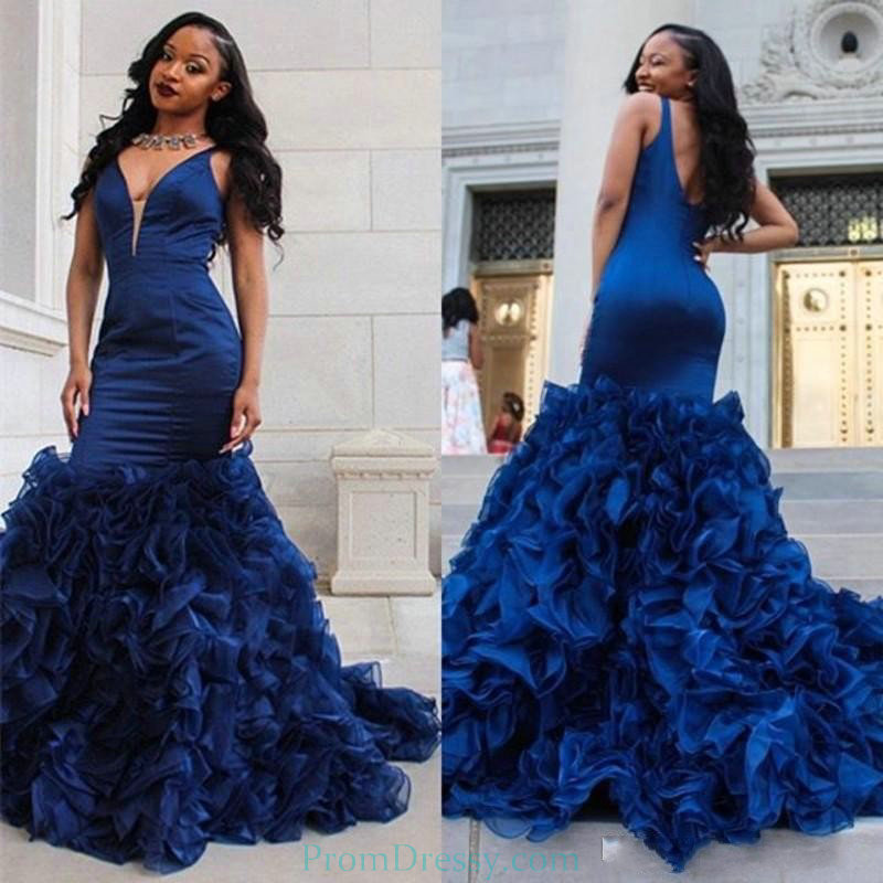 V Plunging V Back Ruffled Mermaid Evening Gowns Royal Blue Prom ...