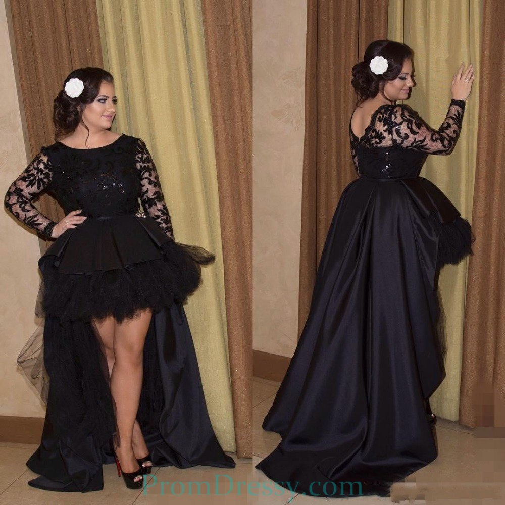 High Neck Lace Long Sleeves Puffy High Low Black Dress Plus Size Prom  Dresses