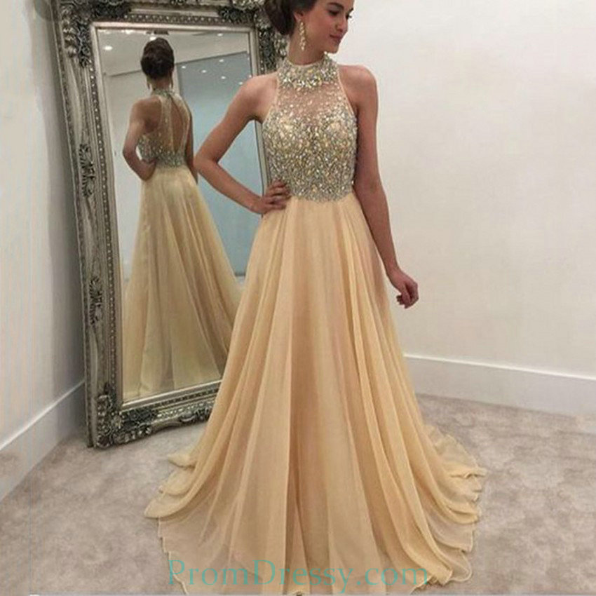 25c53ac0a9f3 Sexy High Neck Formal Women Evening Gowns Custom Made Beading Chiffon  Champagne Long Prom Dresses