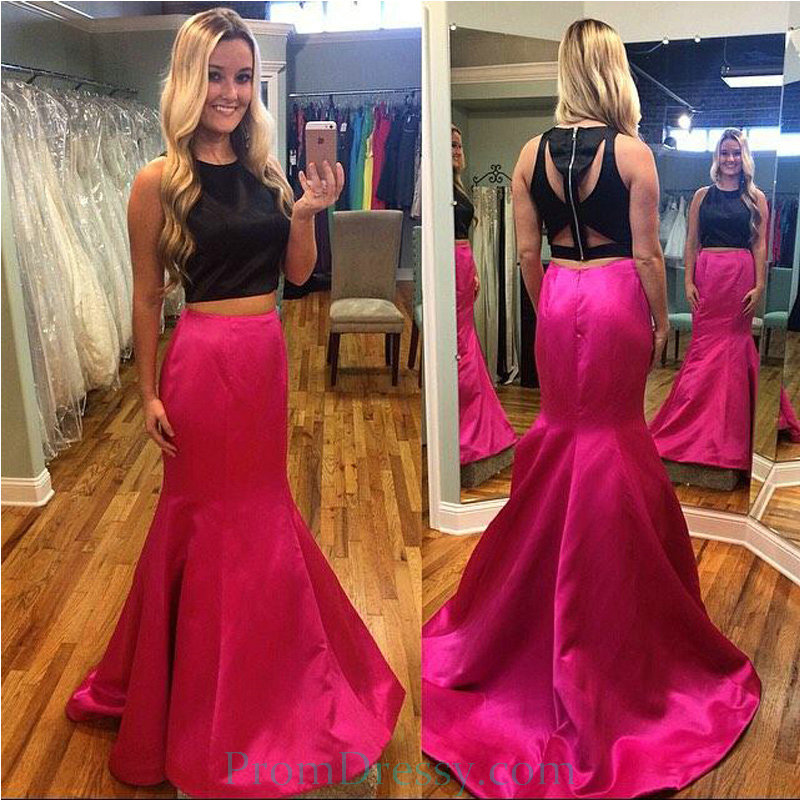 Satin Black And Pink 2 Piece Prom Dresses Trumpet Evening Gown