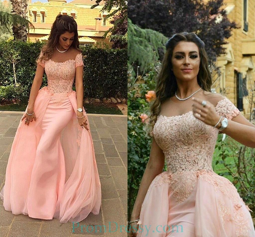 1a2b355f Satin Tulle Lace Appliqued Pink Off The Shoulder Prom Evening Dress With Detachable  Train