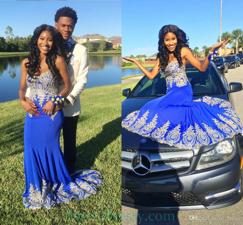 Strapless Chiffon Lace Appliqued Royal Blue Mermaid Prom Evening
