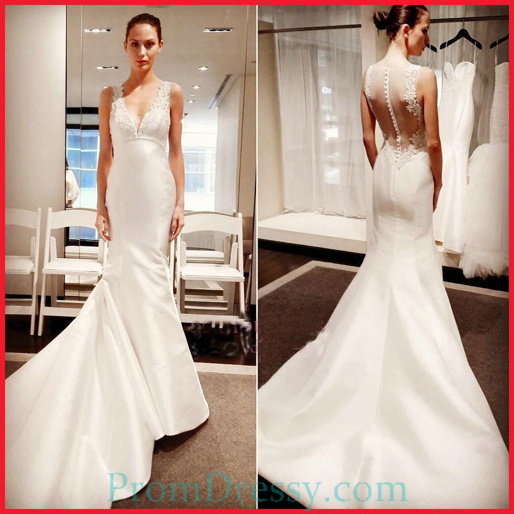 Simple Wedding Dresses Open Back: Satin Lace Appliqued V Plunging Sheer Open Back Classic
