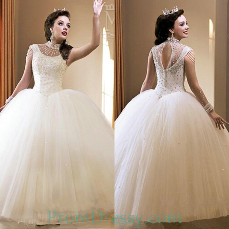 Tulle Beaded High Neck Beaded Classic Ball Gown Wedding Dresses With ...
