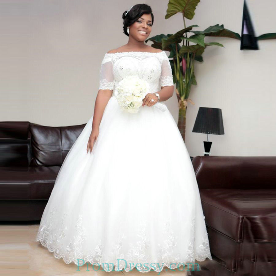 Tulle Lace Off The Shoulder Half Sleeves Ball Gown Elegant Wedding ...