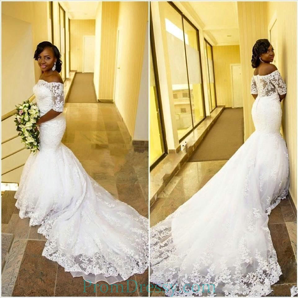 Tulle Off The Shoulder Plus Size Mermaid Wedding Dress With Sleeves
