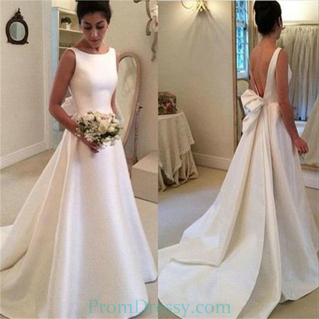 A Line Satin High Neck Low Cut Back Classic Elegant Wedding Dresses ...