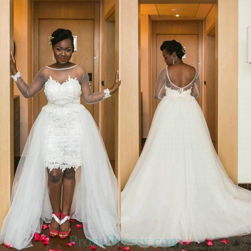 Low Back Long Sleeves Two In One High Low Wedding Dress Plus Size