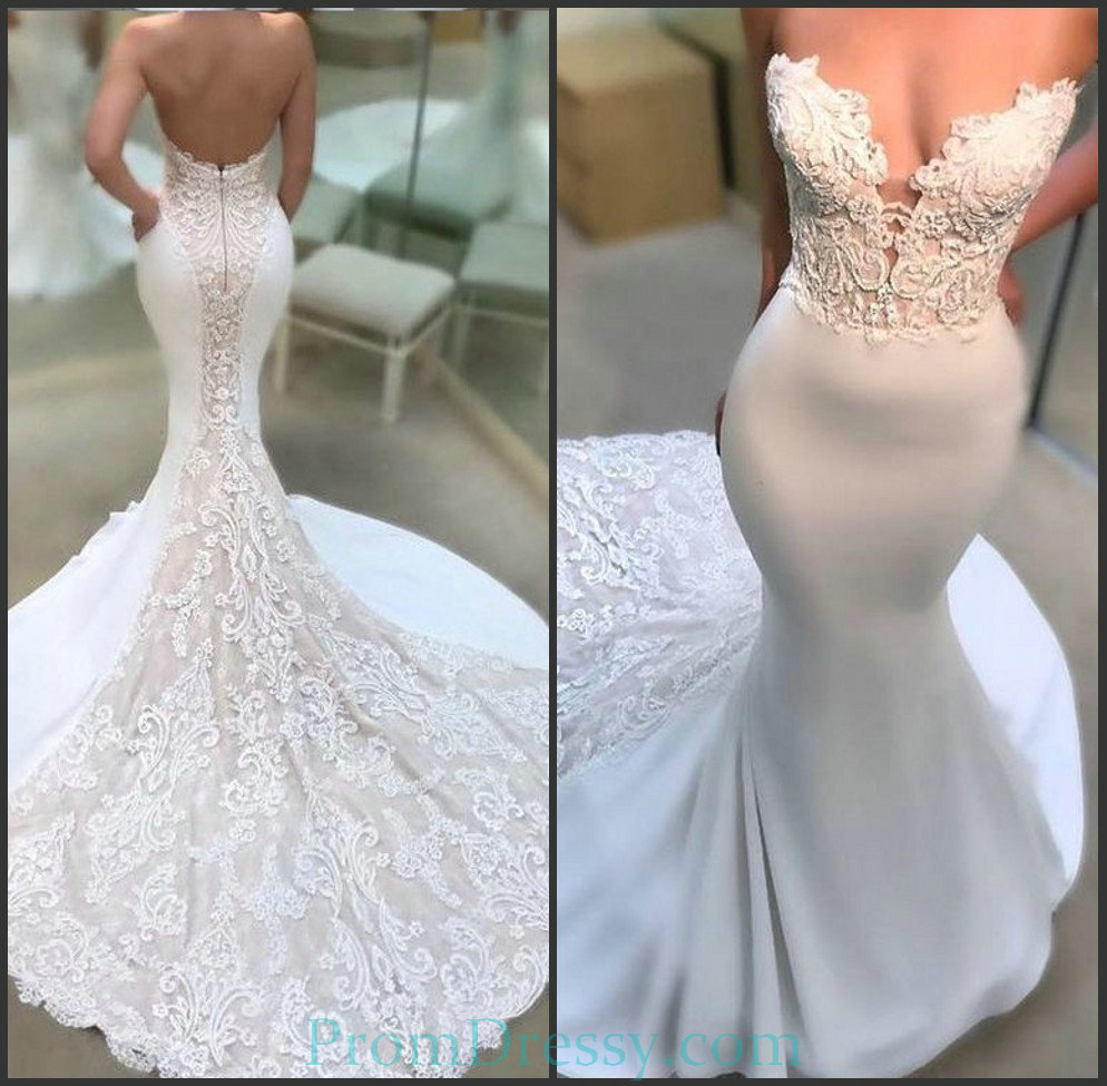 Low Cut Back Strapless Lace Appliqued Sexy Wedding Dress Mermaid