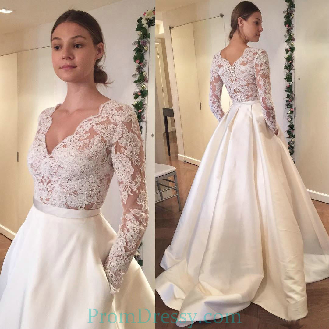 Satin A Line Lace Bodice Long Sleeve Lace Wedding Dress With Buttons ...