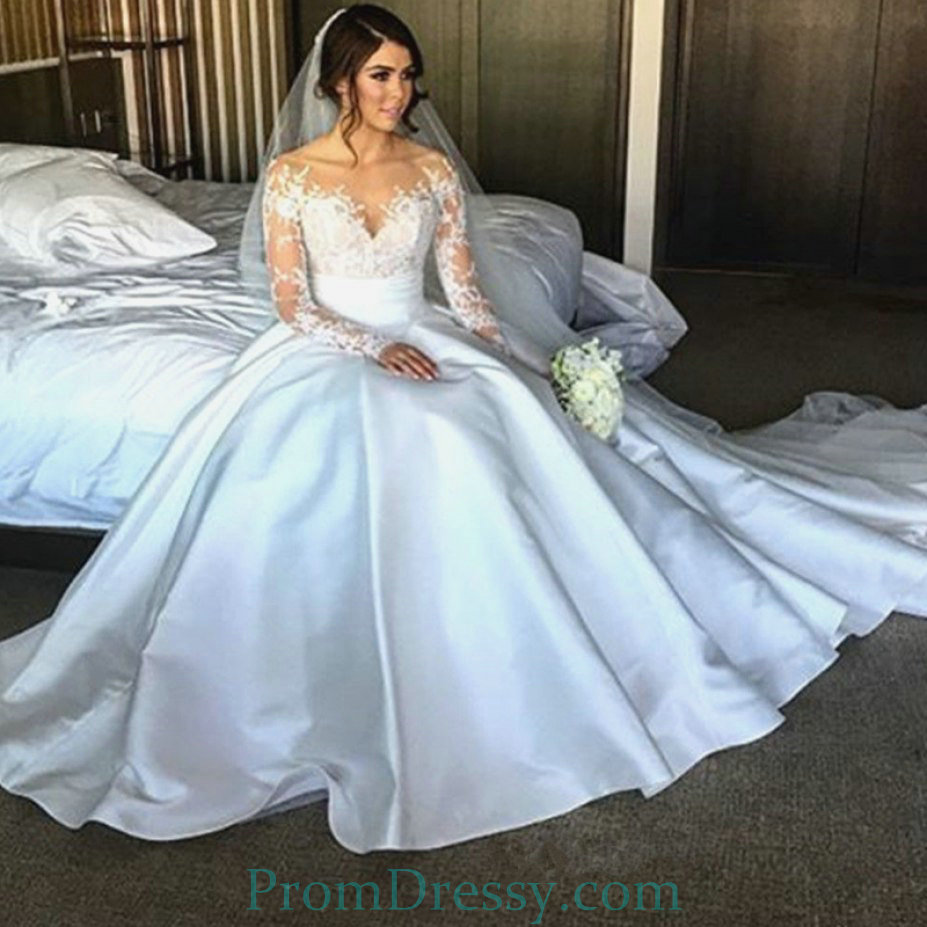 Sheer Long Sleeves Off The Shoulder Satin Ball Gown Wedding Dresses ...