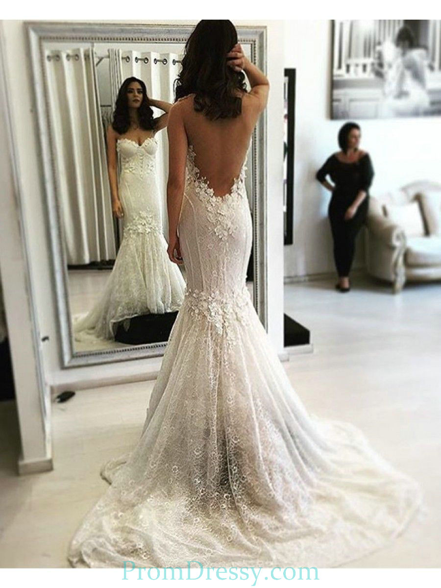 Vestiti Da Sposa In Pizzo.Sweetheart Backless Lace Mermaid Wedding Dress With Small Flowers