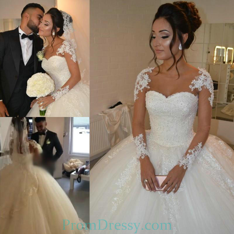 Tulle Lace Sleeves Princess Ball Gown Wedding Dresses Big Dress For ...