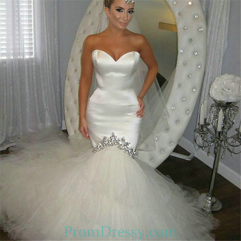 Tulle Strapless Rhinestone Satin Mermaid Wedding Dress With Long Train