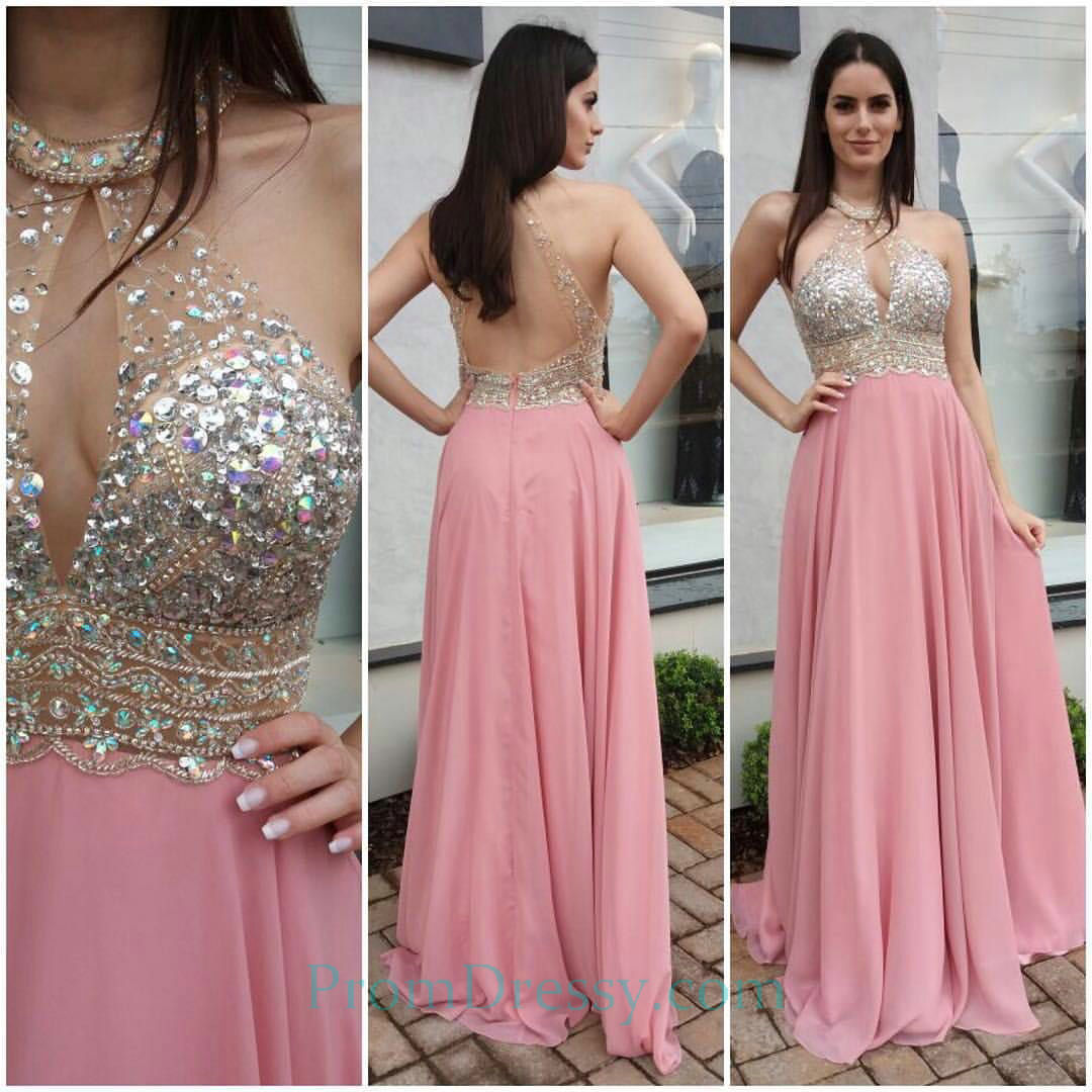Crystal Beaded Backless Evening Gown Pink Halter Prom Dresses