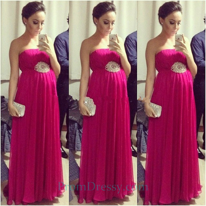 Pleated Chiffon Hot Pink Evening Prom Dresses Maternity Evening Gown