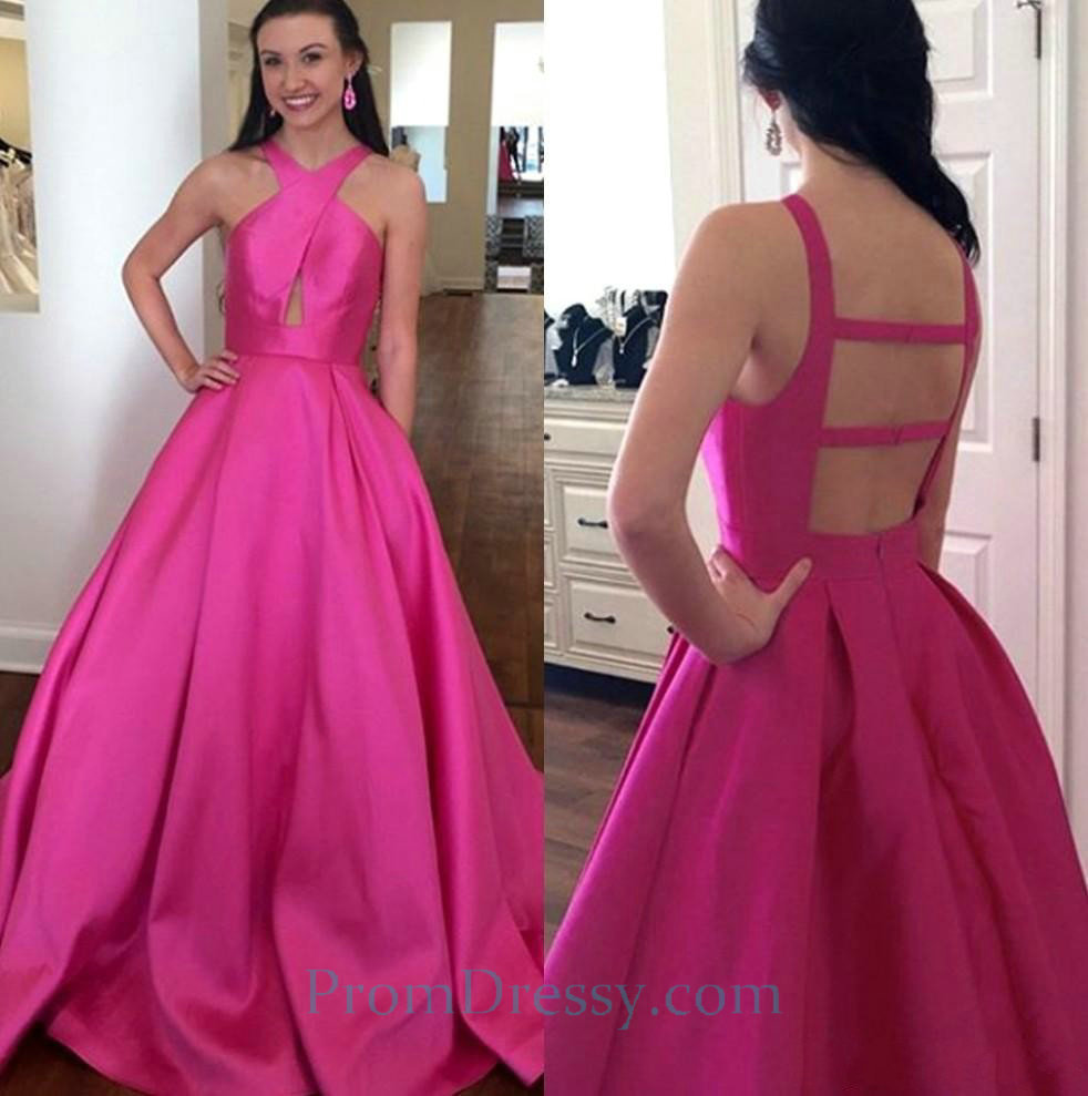 Satin Hot Pink Ball Gown Prom Dresses With Open Back vestidos largo ...