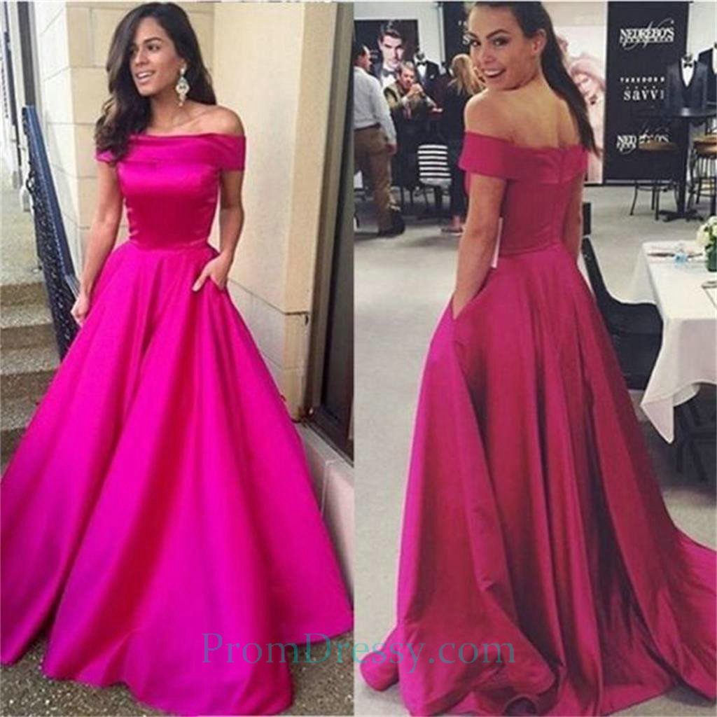 Satin Off The Shoulder Fuchsia Ball Gown Prom Dresses New Simple ...