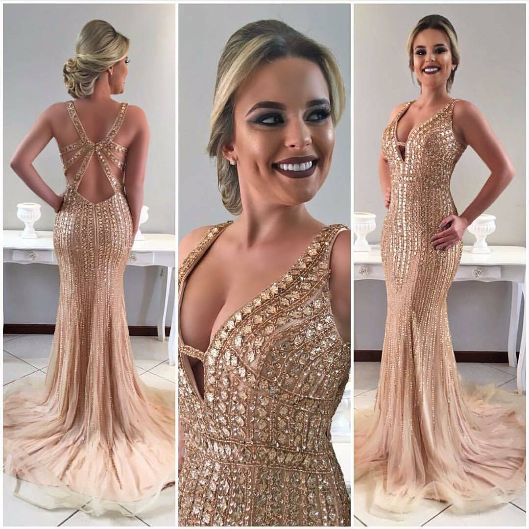 Tulle Champagne Prom Dress Major Beaded Evening Gown With Open Back ...