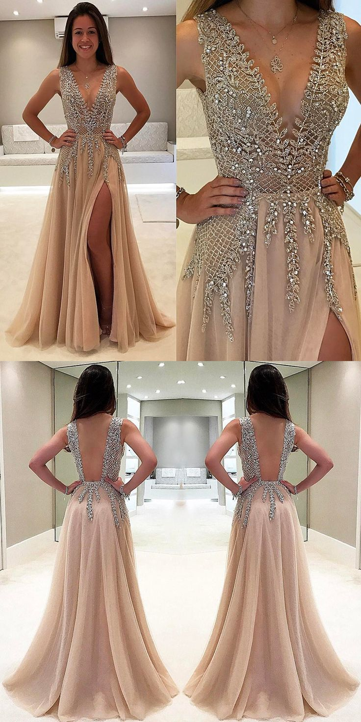 Tulle V Neck Low Cut Evening Dresses Champagne Prom Dress vestidos ...