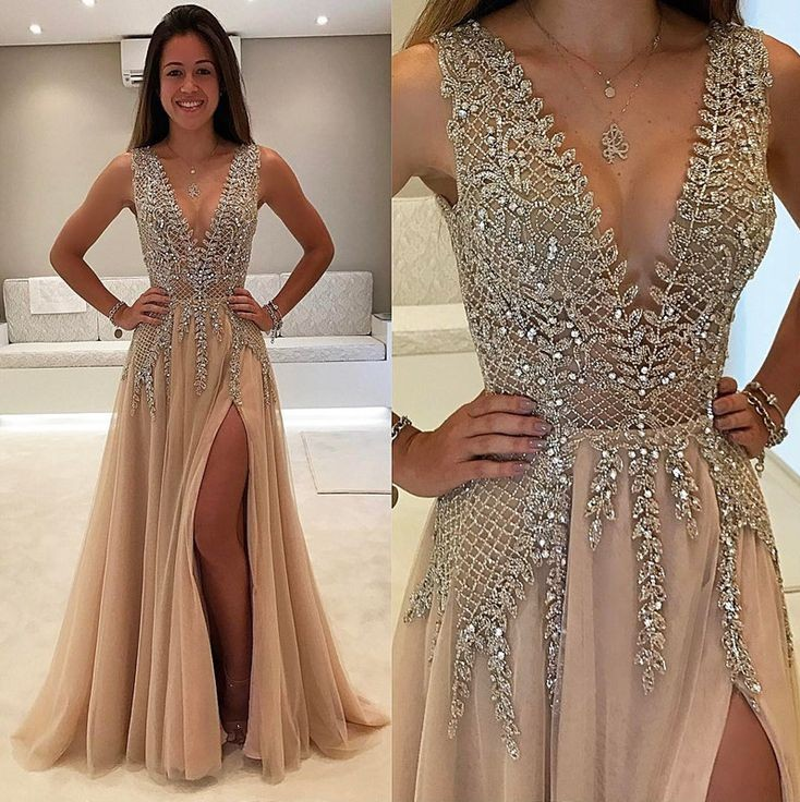 18b83db0ff4be Tulle V Neck Low Cut Evening Dresses Champagne Prom Dress vestidos fiesta  noche 2018