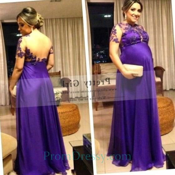 Full Length Light Purple Plus Size Maternity Evening Dresses ...