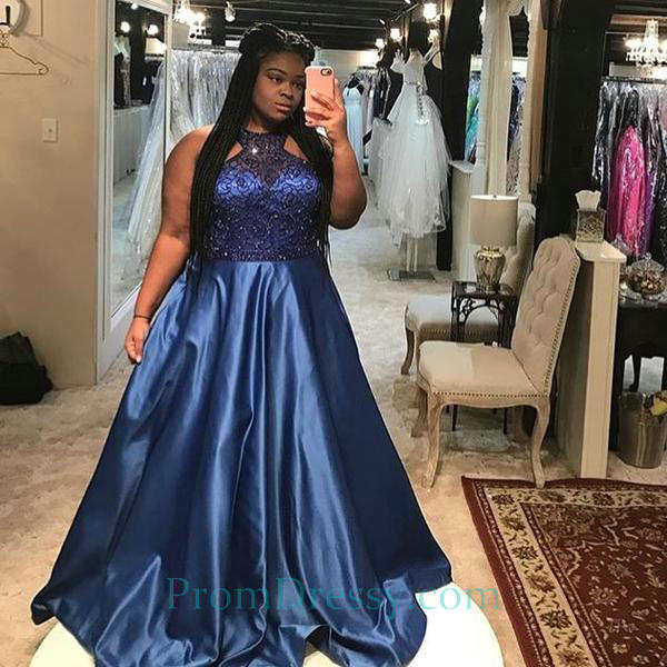 Satin Sequin Beaded Royal Blue Prom Dresses Plus Size