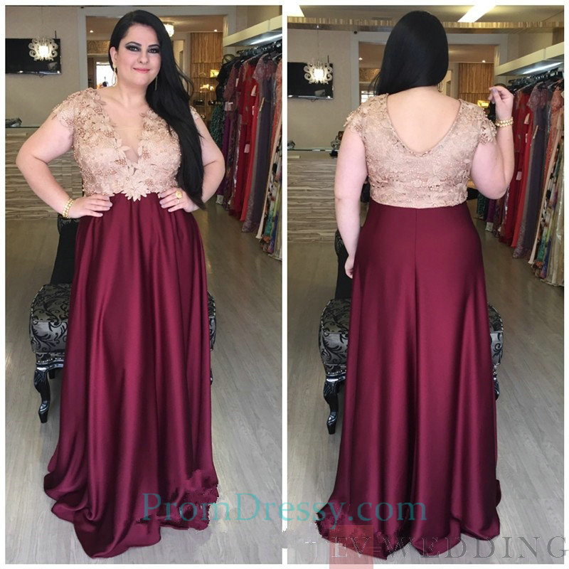 Satin V Neck Short Sleeves Plus Size Prom Dresses Burgundy