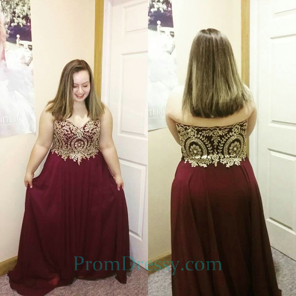 Sweetheart Red With Gold Prom Evening Dresses Plus Size