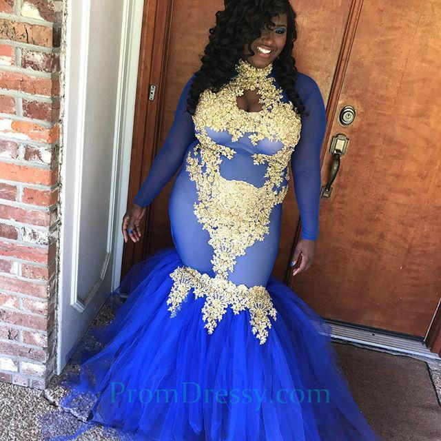 Tulle Blue With Gold Long Plus Size Prom Dresses Mermaid