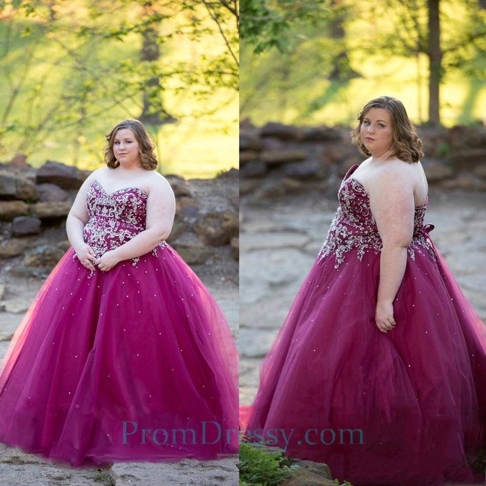 Tulle Strapless Fuchsia Prom Dresses Plus Size Ball Gowns